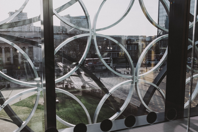 Looking out of Library of Birmingham